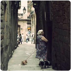 Woman on the street in Barcelona, Spain