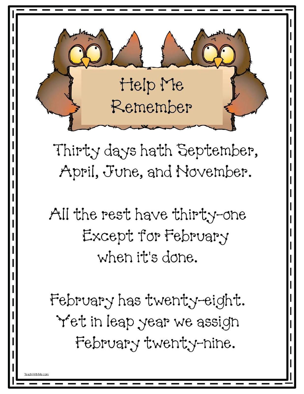 Monthly Calendar Rhyme : Calendar posters classroom freebies