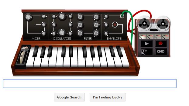 image of google doodle on 23 may 2012 Robert Moog's Birthday