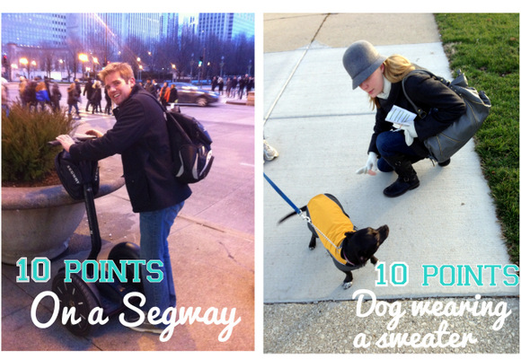 These photo hunt pictures with a dog wearing a sweater and on a segway are in Chicago.
