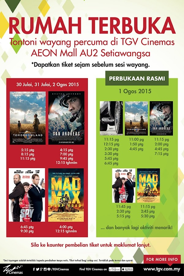 TGV AU2 Mall Free Screening