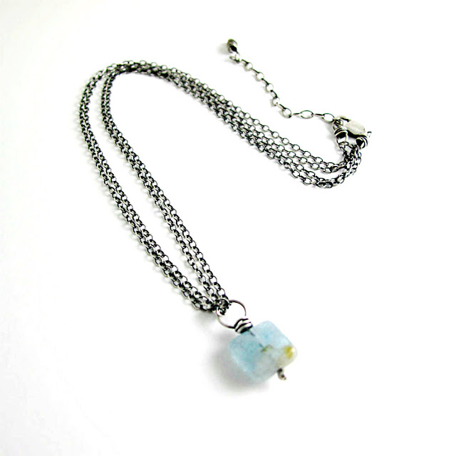 Courageous Light Aquamarine Birthstone Necklace by Beth Hemmila of Hint Jewelry