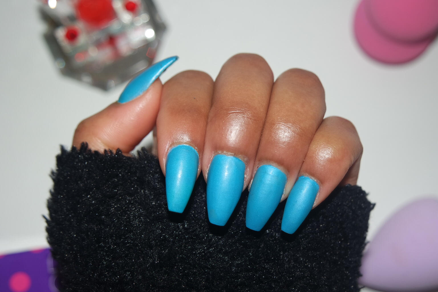 TASHIKA BAILEY: MATTE BLUE COFFIN NAILS
