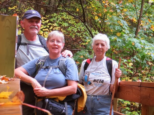 hikers on Eddington Creek Bridge