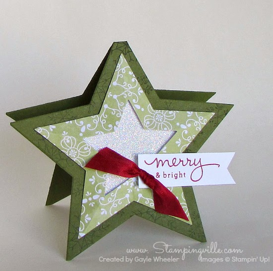 Merry & bright 3-d star shaped Christmas card | Stampingville