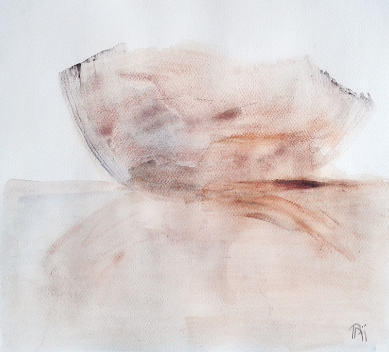 earth tones, rust, bowl painting, minimal watercolor, minimalism contemporary fine art