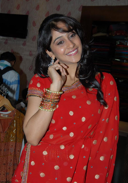 Actress Regina Red Saree Photos