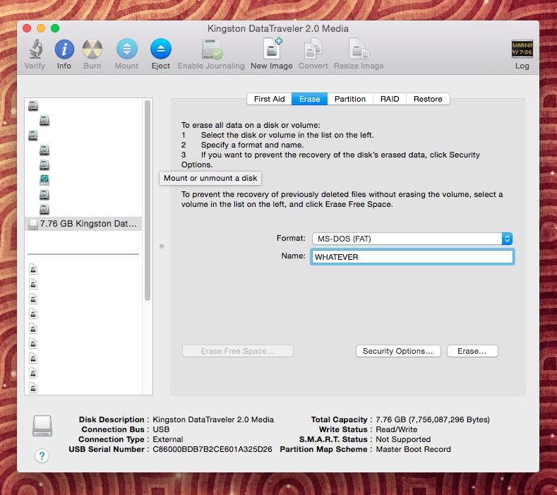 Как с загрузочной флешки сделать образ для mac