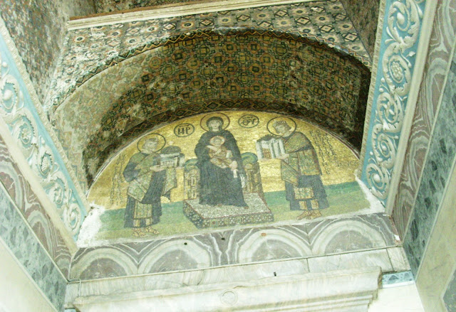 Mosaics on one very high door in the magnificent Hagia Sophia