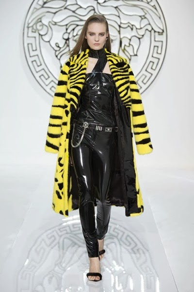 Versace FW 2013 Vunk Yellow Furry Coat