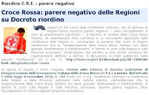 Riordino C.R.I. : parere negativo