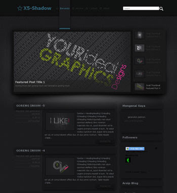 X5 - Shadow template. download blogger template elegant dark. download blogazine blogger template