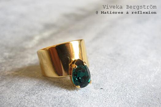 Bague Viveka Bergström cristal vert émeraude