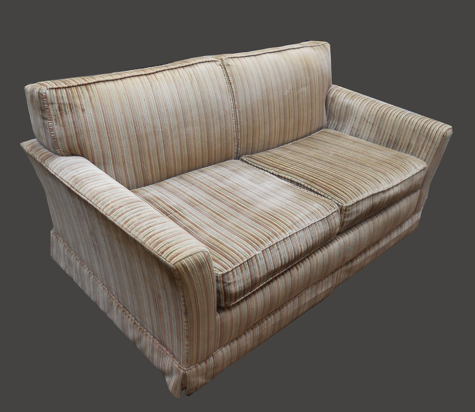 Uhuru Furniture Collectibles 1970s Striped Velvet Loveseat Sold