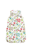 Ella & Otto Garden Design Baby Sleeping Bag. With a lively leafy print, shown in close up.
