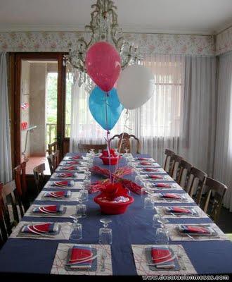 Decoracion de mesas mesa comuni n con globos - Adornos mesa comunion ...