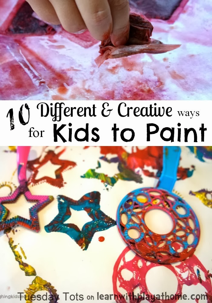 Learn with play at home 10 creative kids painting activities for Teaching kids to paint on canvas