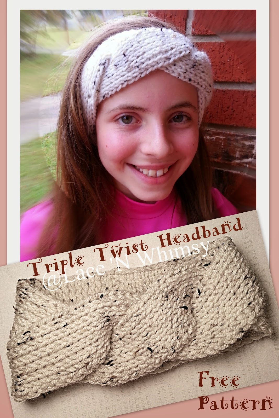 Twisted Headband Knit Pattern : Lace and Whimsy: Triple Twist Headband Ear Warmer Tunisian Knit Crochet Free ...