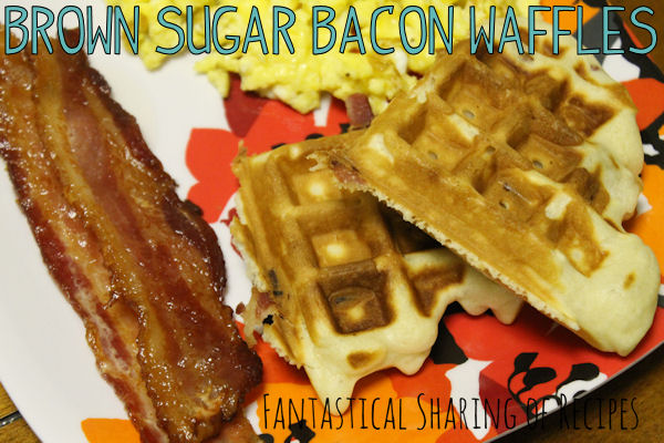 Brown Sugar Bacon Waffles - have your waffles, and your bacon too! #bacon #breakfast #recipe