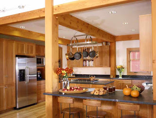 timber frame kitchen in Vermont