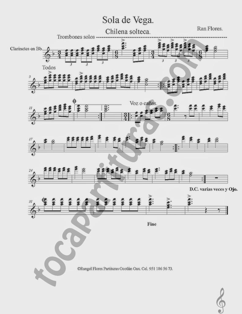 Partitura de Sola de Vega en Si bemol para Clarinete. La partitura puede servir también para Saxo Tenor y Saxofón Soprano en Si bemol Chilena Solteca