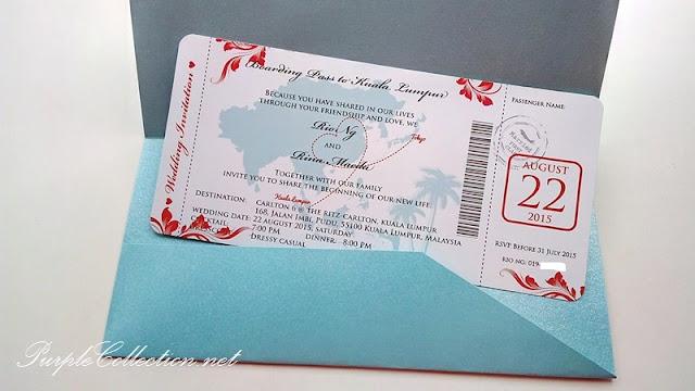 wedding boarding pass, invitation card, printing, kuala lumpur, ticket to paradise, malaysia, singapore, johor bahru, kuching, sarawak, sabah, sandakan, kota kinabalu, miri, bintulu, labuan, penang, seremban, ipoh, perak, kuantan, bentong, pahang, perlis, kedah, USA, canada, australia, melbourne, sydney, NSW, perth, brisbane, adelaide, cairns, personalised, personalized, elegant, unique, special, colours, floral, peonies, china, pearl tiffany blue, art card, envelope 80g, strands, handmade, hand crafted, red, map, japan, tokyo, beautiful, simple, airline, passport, travel, beach, theme, decoration, the ritz carlton, jalan imbi, pudu, kad-kad kahwin, murah, bunting, logo, design, 2015, barcode, chinese, japanese