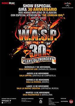 Conciertos de WASP en Madrid, Barcelona, Bilbao, Santiago y Cartagena en Noviembre