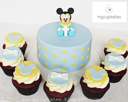 Baby Mickey Mouse Cake U0026 Cupcakes For Kobeu0027s Christening Day