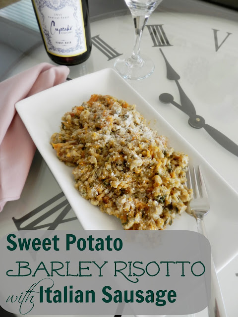Sweet Potato Barley Risotto with Italian Sausage #slowcooker #dinner