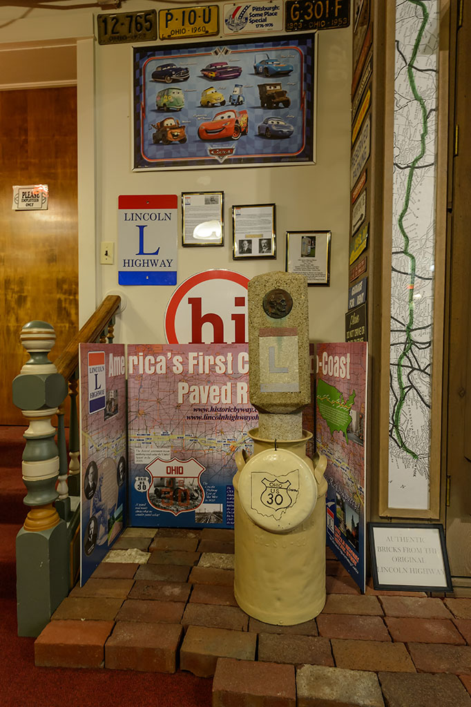 The Lincoln Highway display at the Canton Classic Car Museum