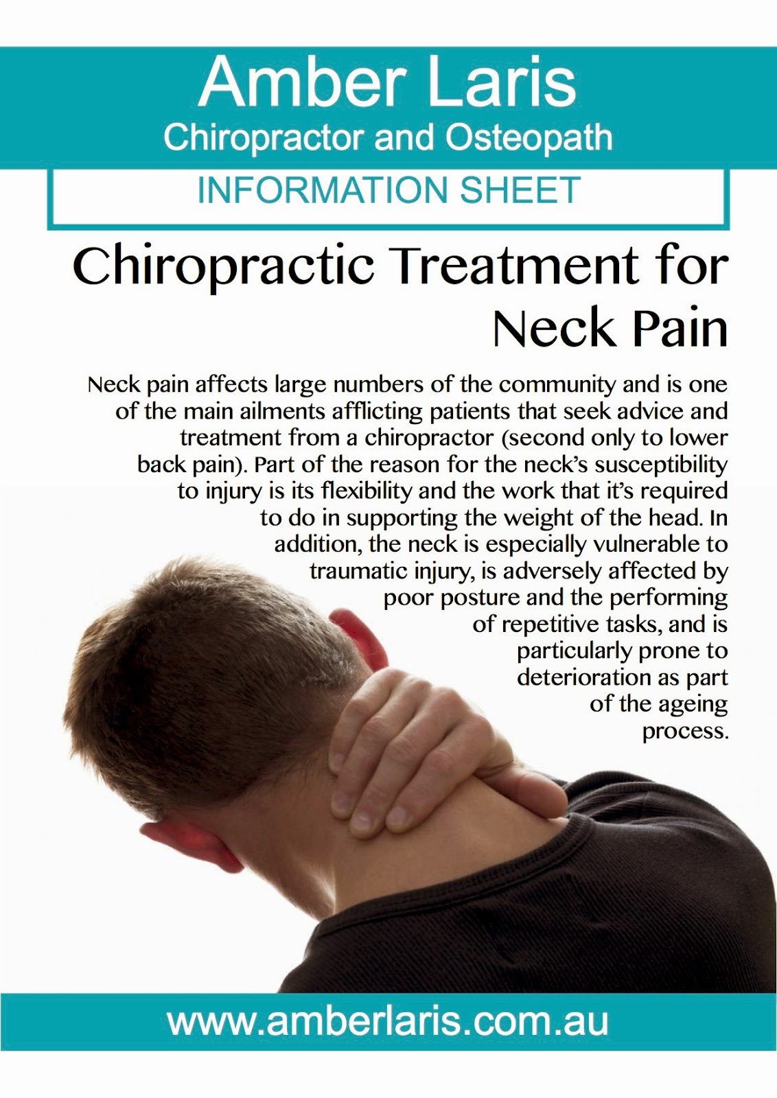 Neck pain can be successfully addressed through a course of chiropractic treatment