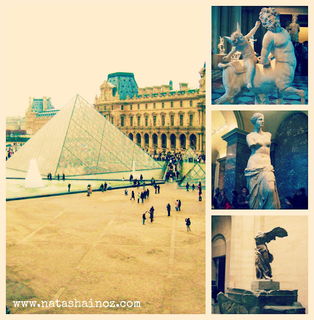 Say G'day Saturday Linky Party, Dreaming of Paris, Natasha in Oz, Louvre collage