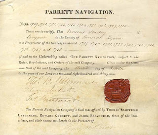 share certificate from the Parrett Navigation company 1839