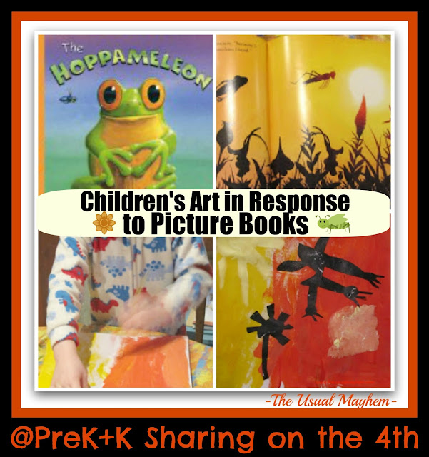 photo of: Creating Children's Art in Response to Picture Books by 'The Usual Mayhem' at PreK+K Sharing