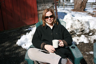 woman having coffee outside