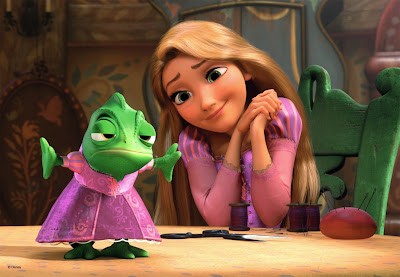 Rapunzel and frog friend from movie Tangled