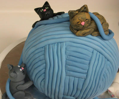 Yarn Ball & Cats Cake - Close-Up of 3 Kittens