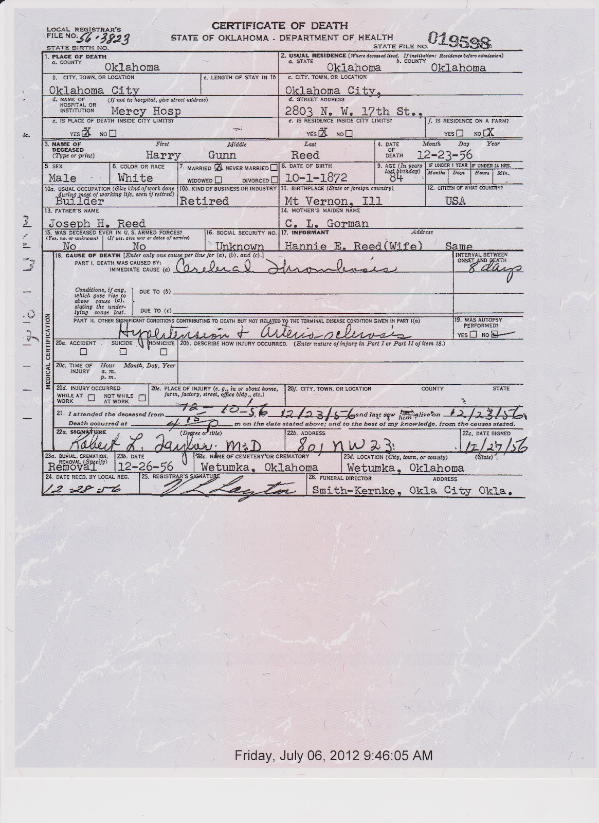 Thoughts from pollys granddaughter harry gunn reed death certificate harry gunn reed death certificate 1betcityfo Images