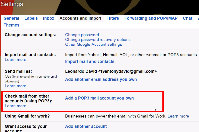 Gmail POP3 Settings