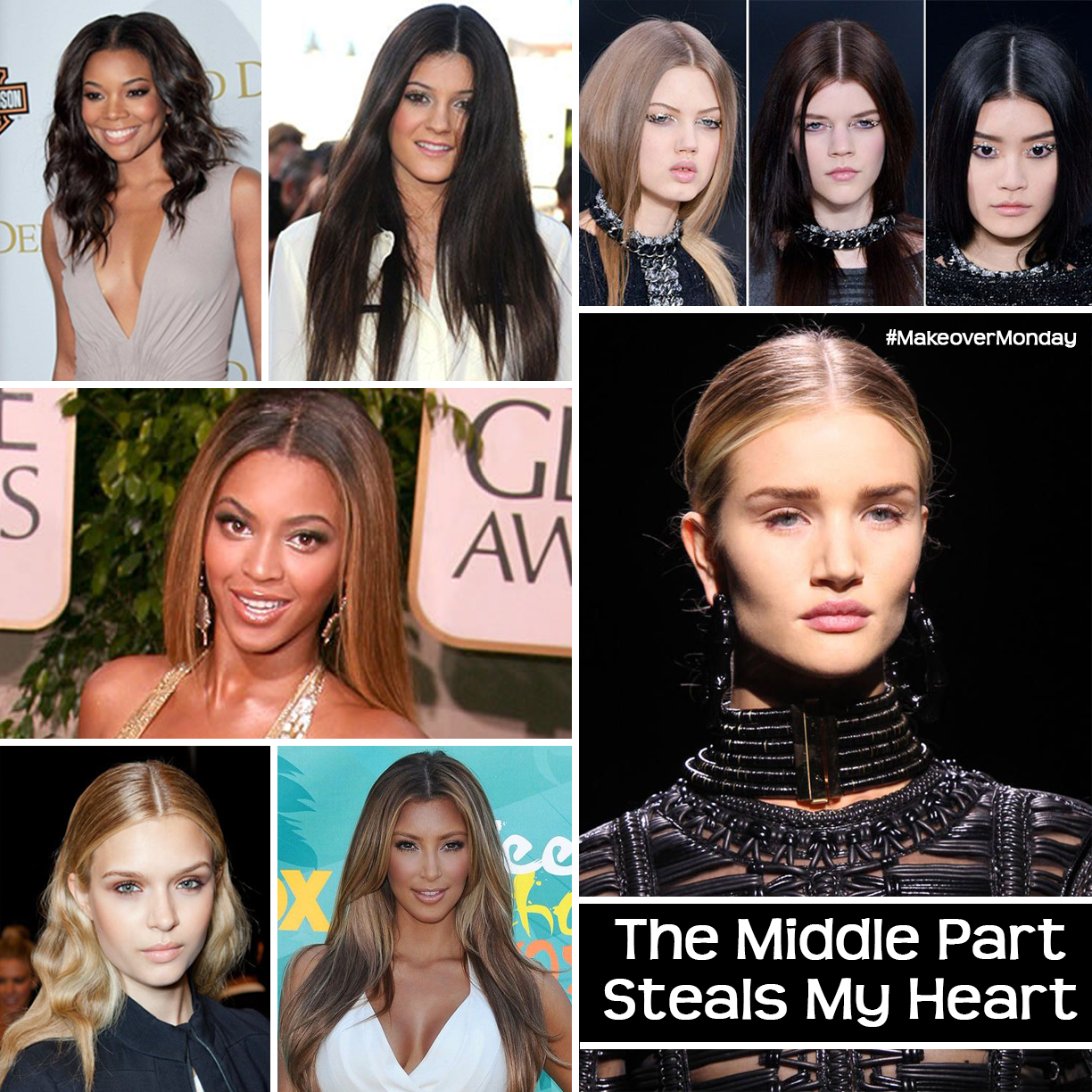 middle part, kim kardashian, jenner, Gabrielle union, hair trends, long hair, fashion, the luxe gen