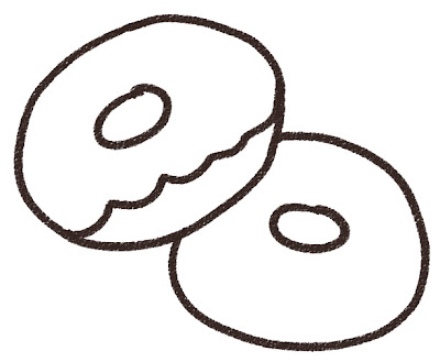 ドーナッツのイラスト(お菓子) モノクロ線画