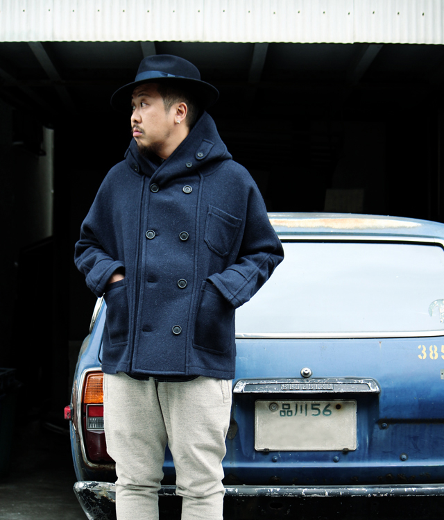 hackneyunionworkhouseハックニーユニオンワークハウスfishermanshortcoat woolhat14fw madeinengland outfit greenangle
