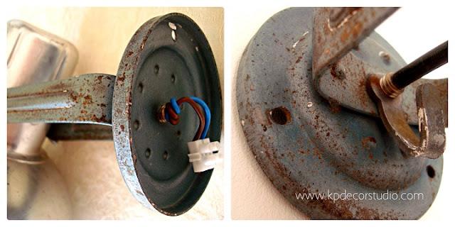 Lámparas vintage estilo industrial. Focos de aluminio y flexos antiguos