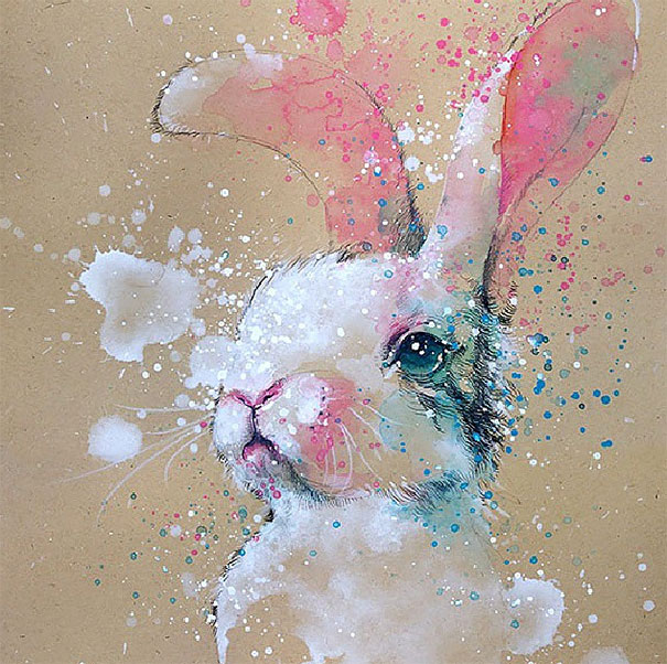 Watercolor splashed Paintings