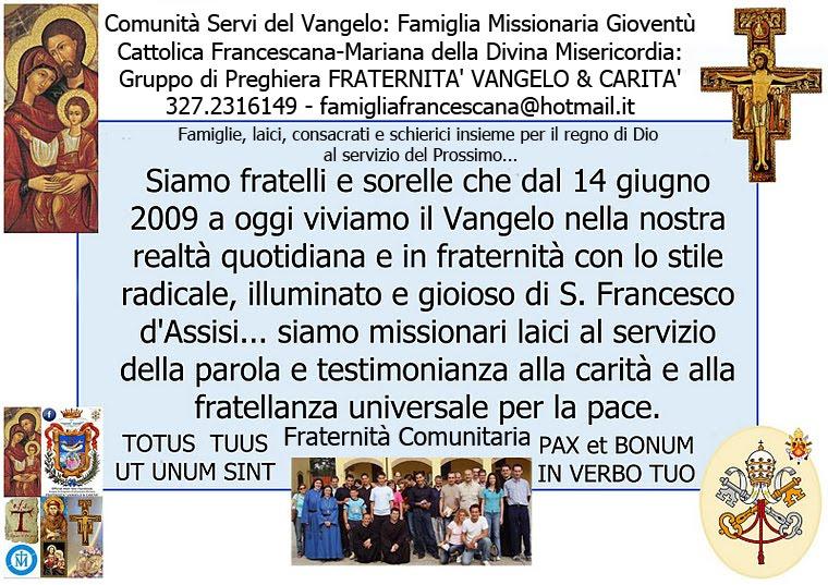 Famiglia Francescana-Mariana FRATERNITa' VANGELO & CARITA'