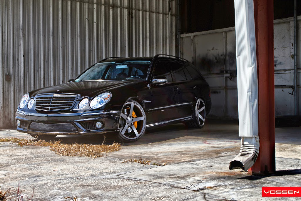 Mercedes e55 amg wagon with vossen wheels benztuning for Mercedes benz e500 station wagon