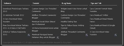 Membuat Footer Kolom Pada Template Blogger