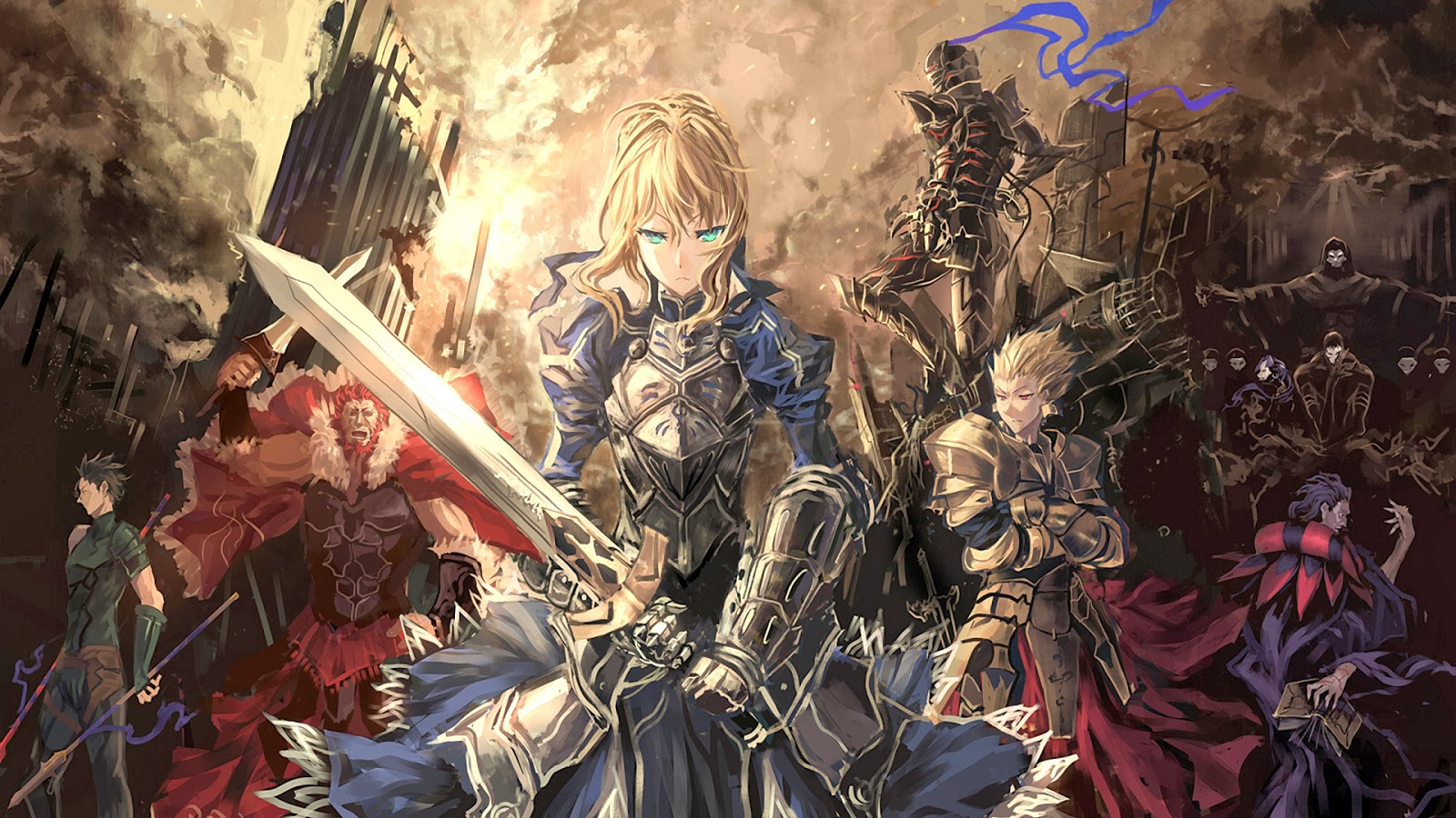 fate stay night wallpaper anime saber gilgames armor knight sword