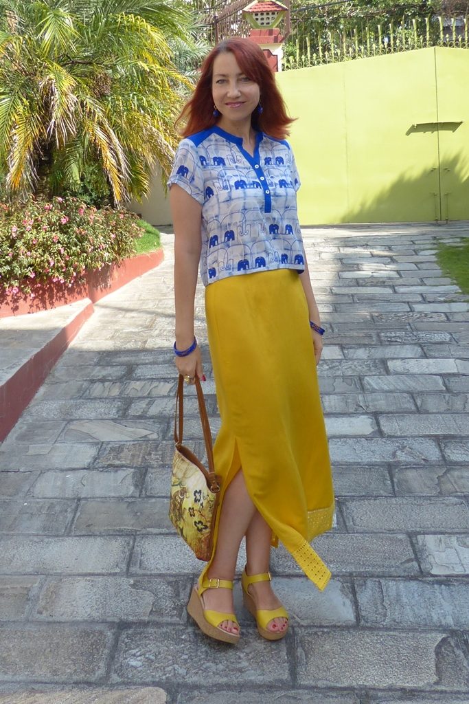Global Desi mustard yellow maxi skirt worn with blue elephants crop top