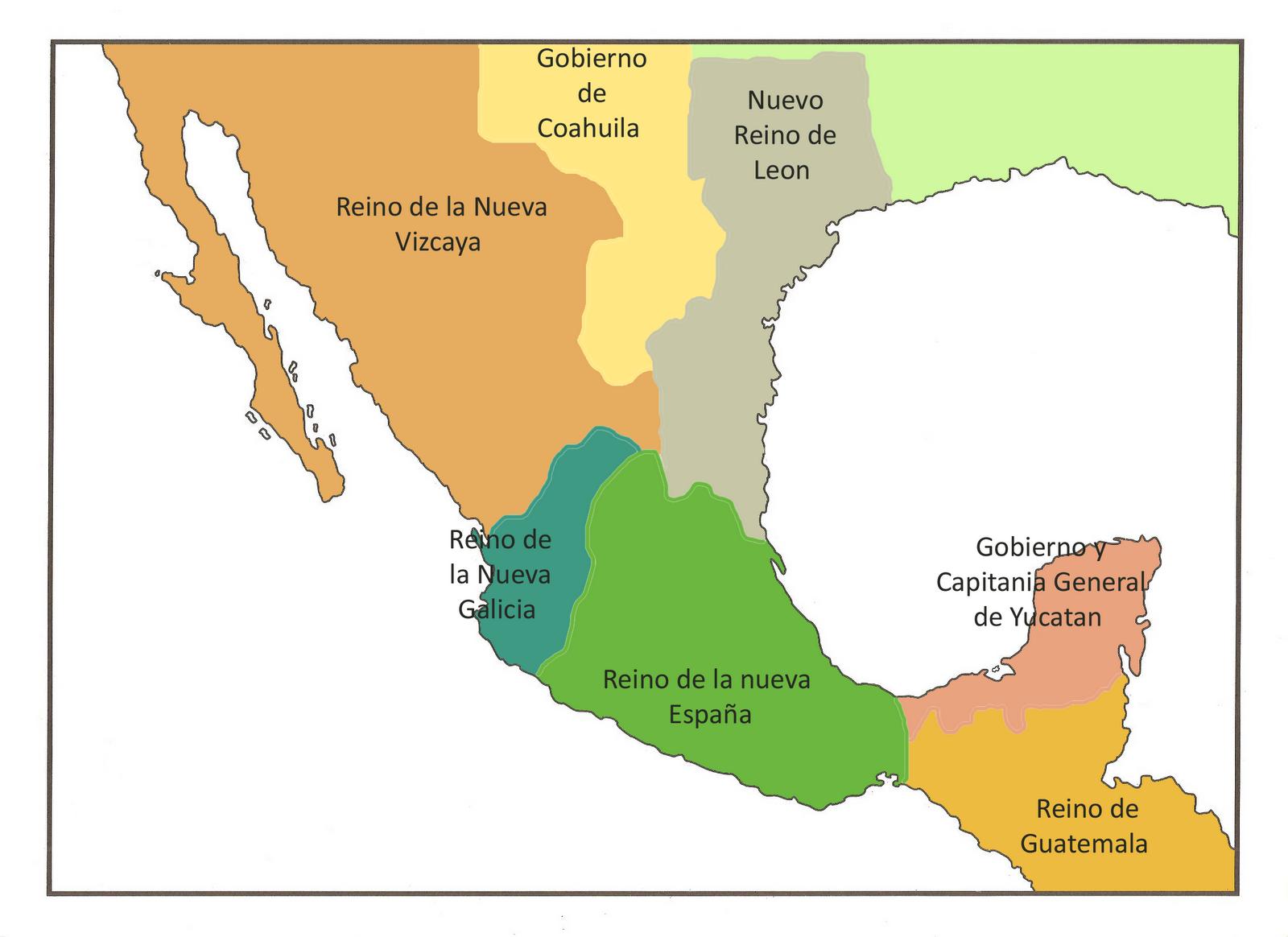 Historia II de México: Las reformas en Nueva España: Nueva división ...
